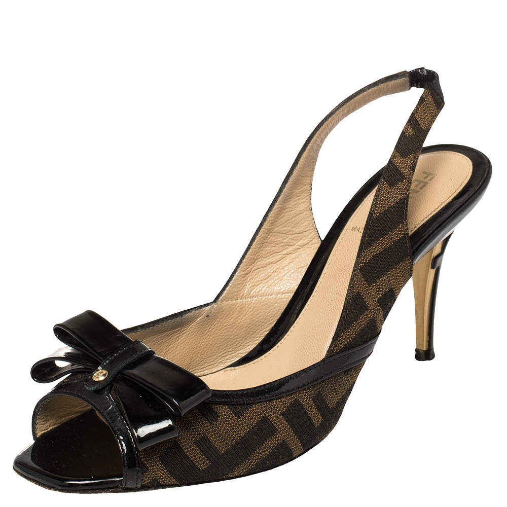 Fendi Black/Brown Zucca Canvas And Patent Leather Bow Slingback Sandals Size 36