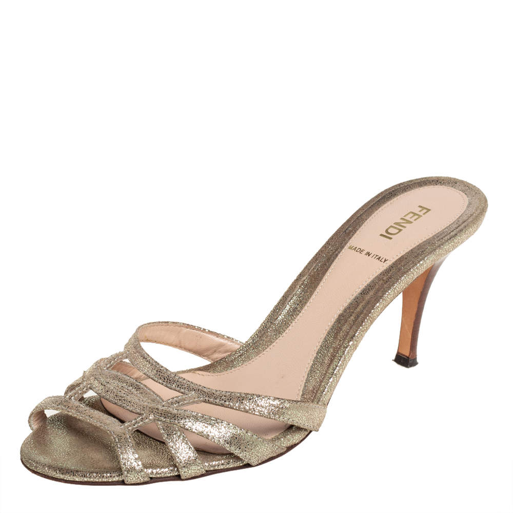 Fendi Metallic Gold Leather Cut Out Open Toe Sandals Size 38
