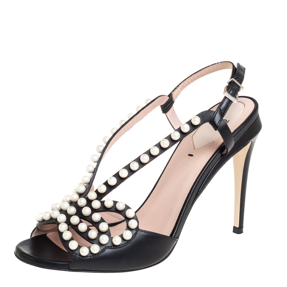 Fendi Black Leather Faux Pearl Embellished Slingback Sandals Size 39