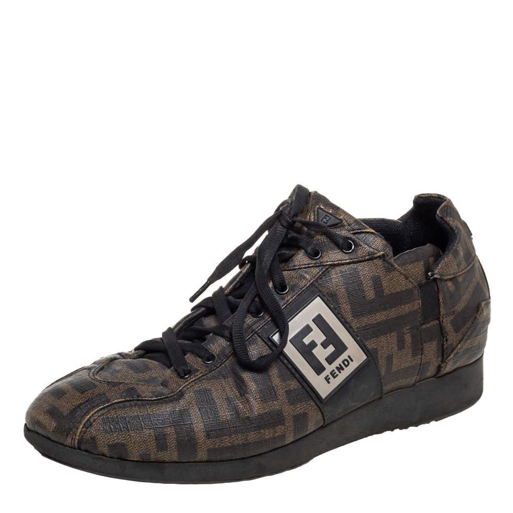Fendi Tobacco Zucca Canvas And Leather Low Top Sneakers Size 37.5