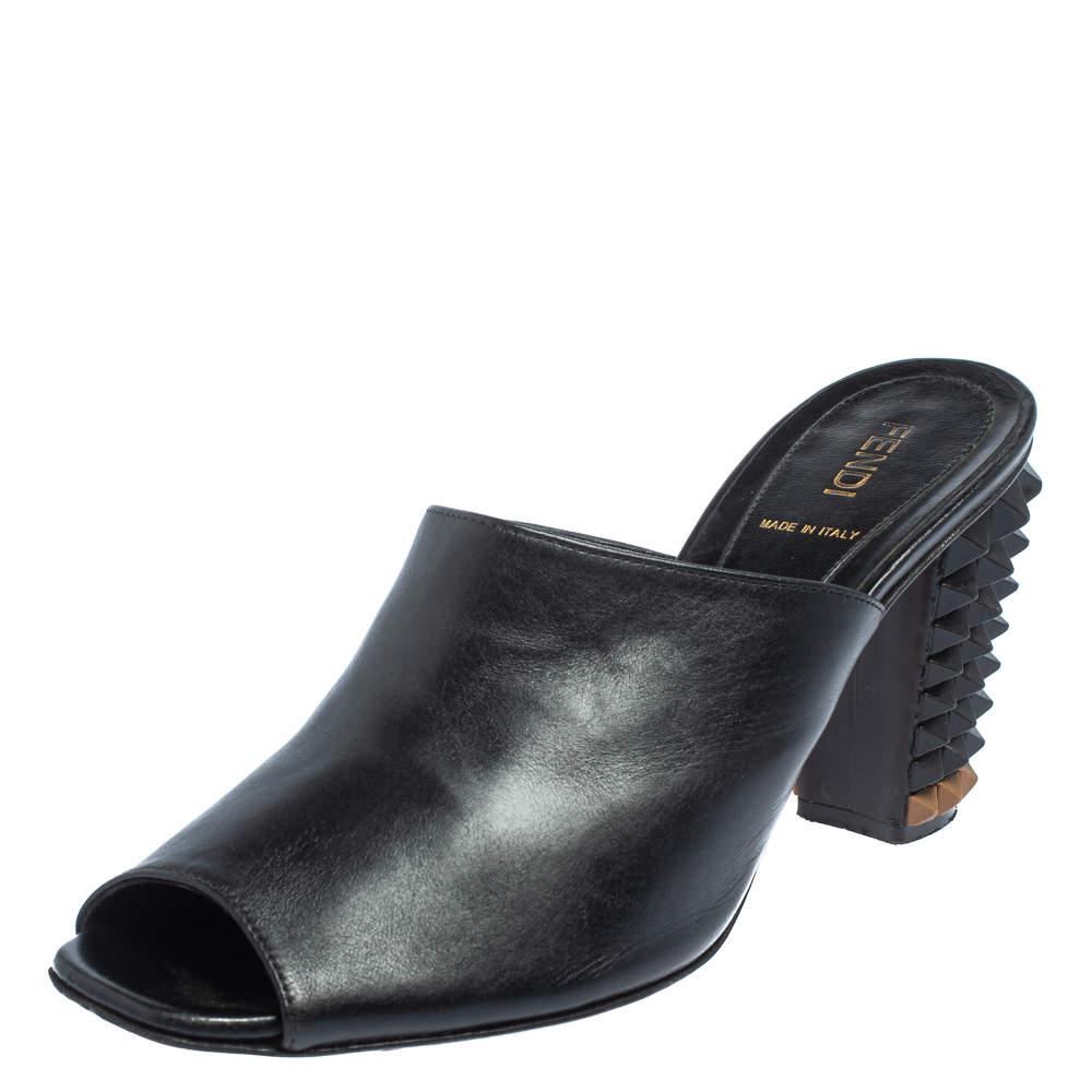 Fendi Black Leather Pyramid Stud Mules Sandals Size 38
