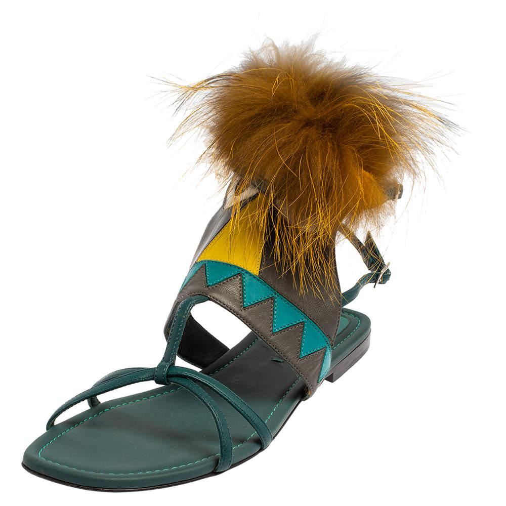 Fendi Blue Leather Fur Trim Bug Ankle Strap Sandals Size 38.5