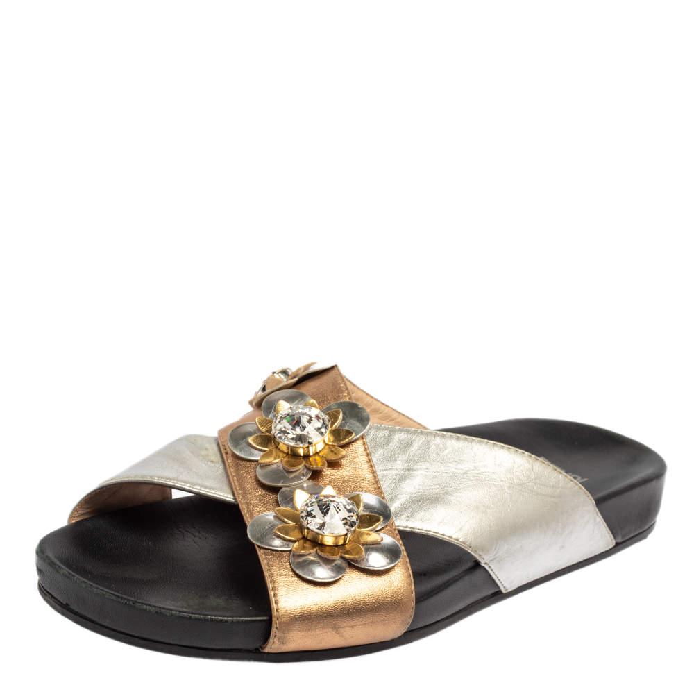 Fendi Silver/Gold Leather Flowerland Slides Size 37