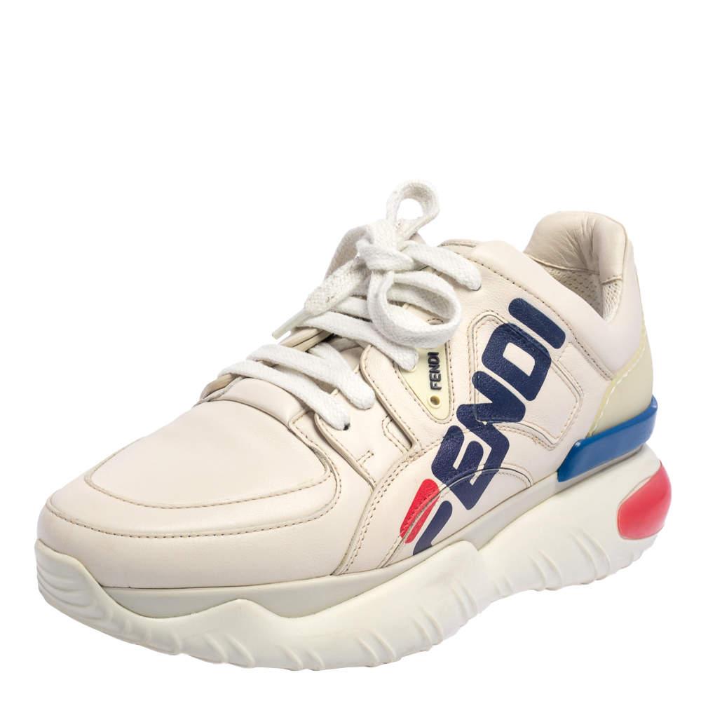 Fendi Cream Leather Fendi Fila Mania Logo Low Top Sneakers Size 38