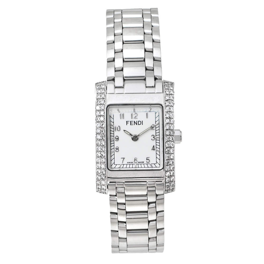 Fendi White Stainless Steel Diamond Orologi 7000L Women's Wristwatch 21 mm
