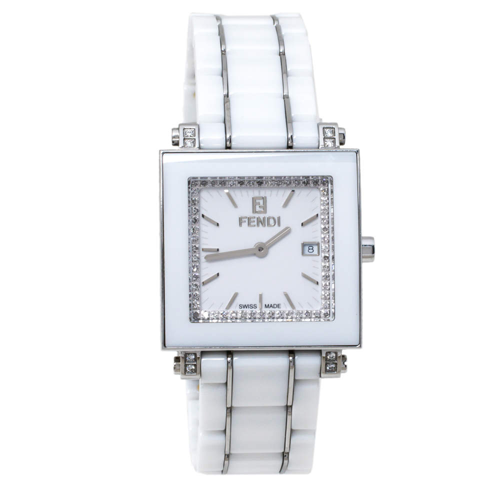 Fendi White Ceramic Stainless Steel Diamond Quadro 6200G Women's Wristwatch 30 mm