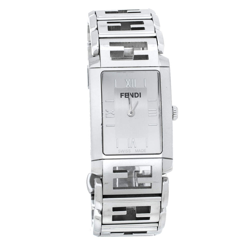 Fendi Silver Stainless Steel Orologi 1200G Women's Wriswatch 24 mm