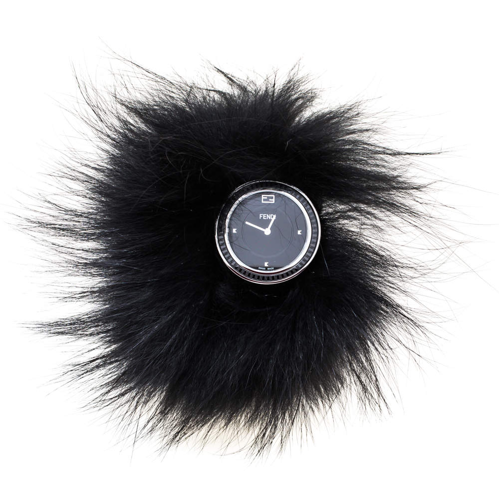 Fendi Black Stainless Steel My Way Fur Glamy 35000M Women's Wristwatch 36 mm