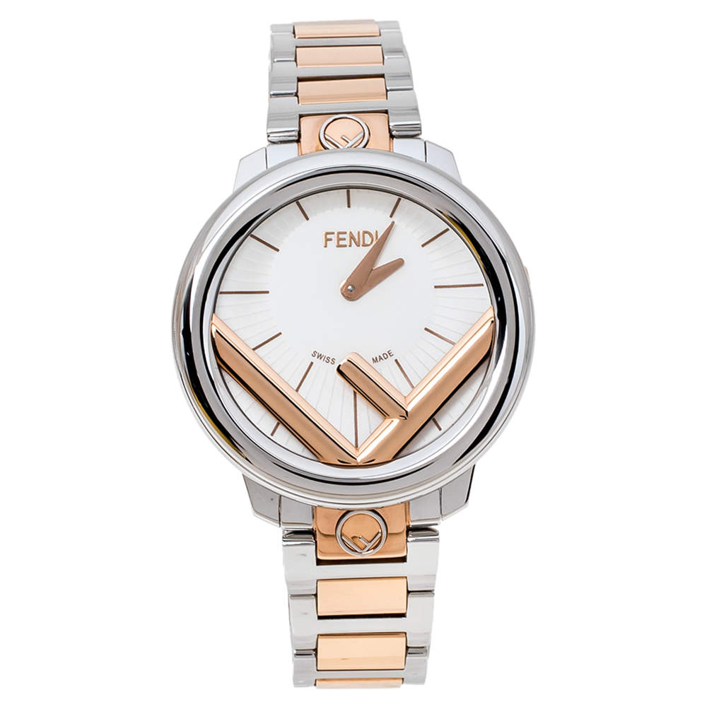Fendi Opaline White Two-Tone Stainless Steel Runaway 71000M Women's Wristwatch 36 mm