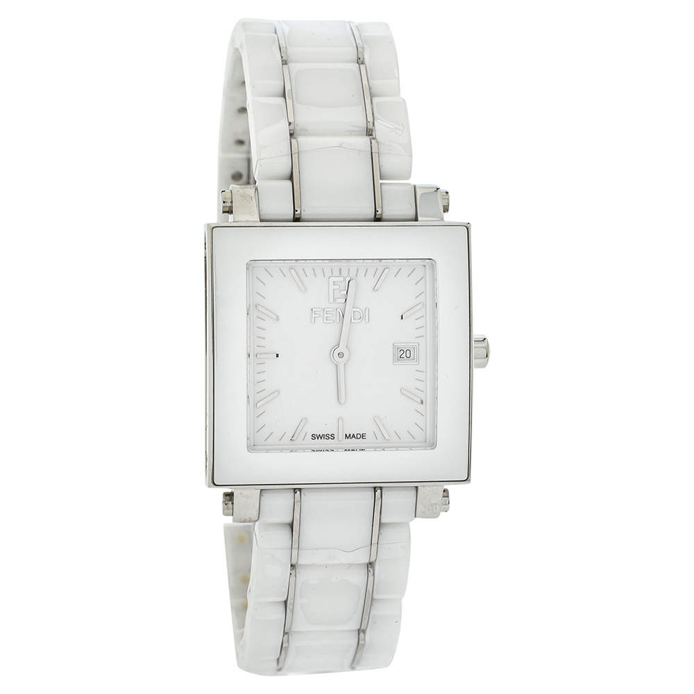 Fendi White Ceramic Stainless Steel Quadro F622140 Women's Wristwatch 30 mm