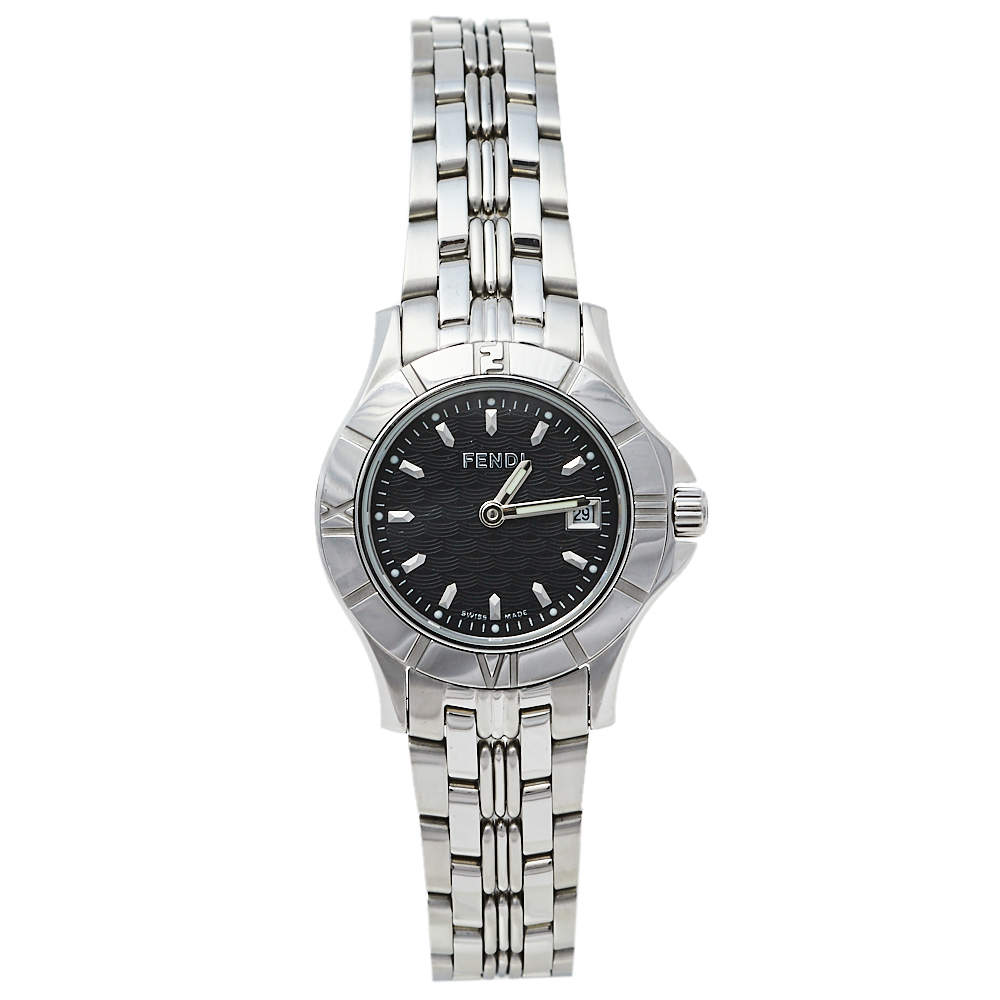 Fendi Black Stainless Steel 2600L Quartz Women's Wristwatch 27 mm