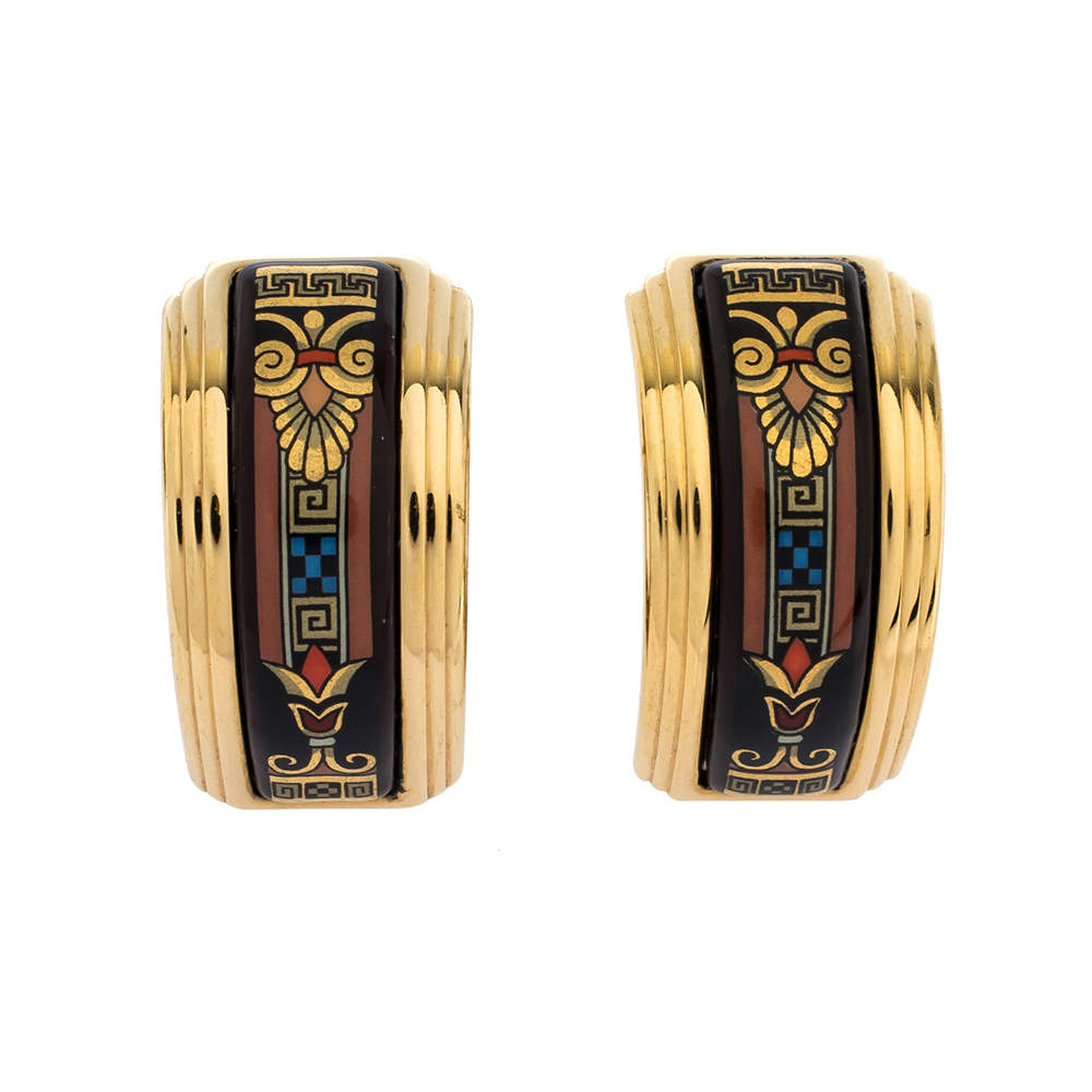 Frey Wille Multicolor Fire Enamel Gold Plated Hoop Earrings