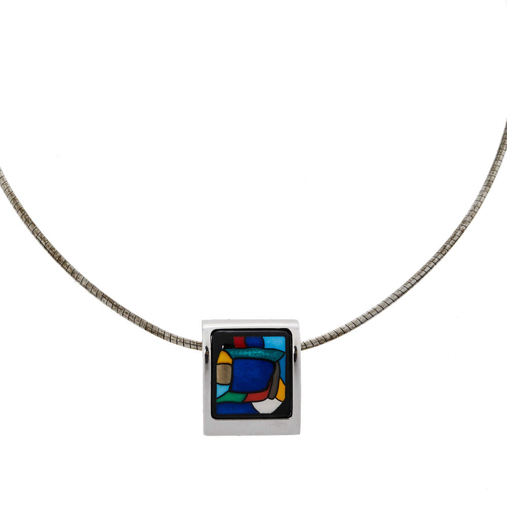 Frey Wille Homage à Hundertwasser Emotion Spiral Square Pendant Omega Chain Necklace