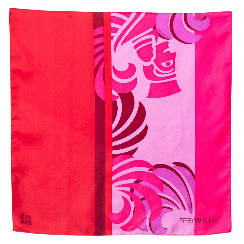 Frey Wille Pink & Red Sphinx Print Silk Gavroche Scarf