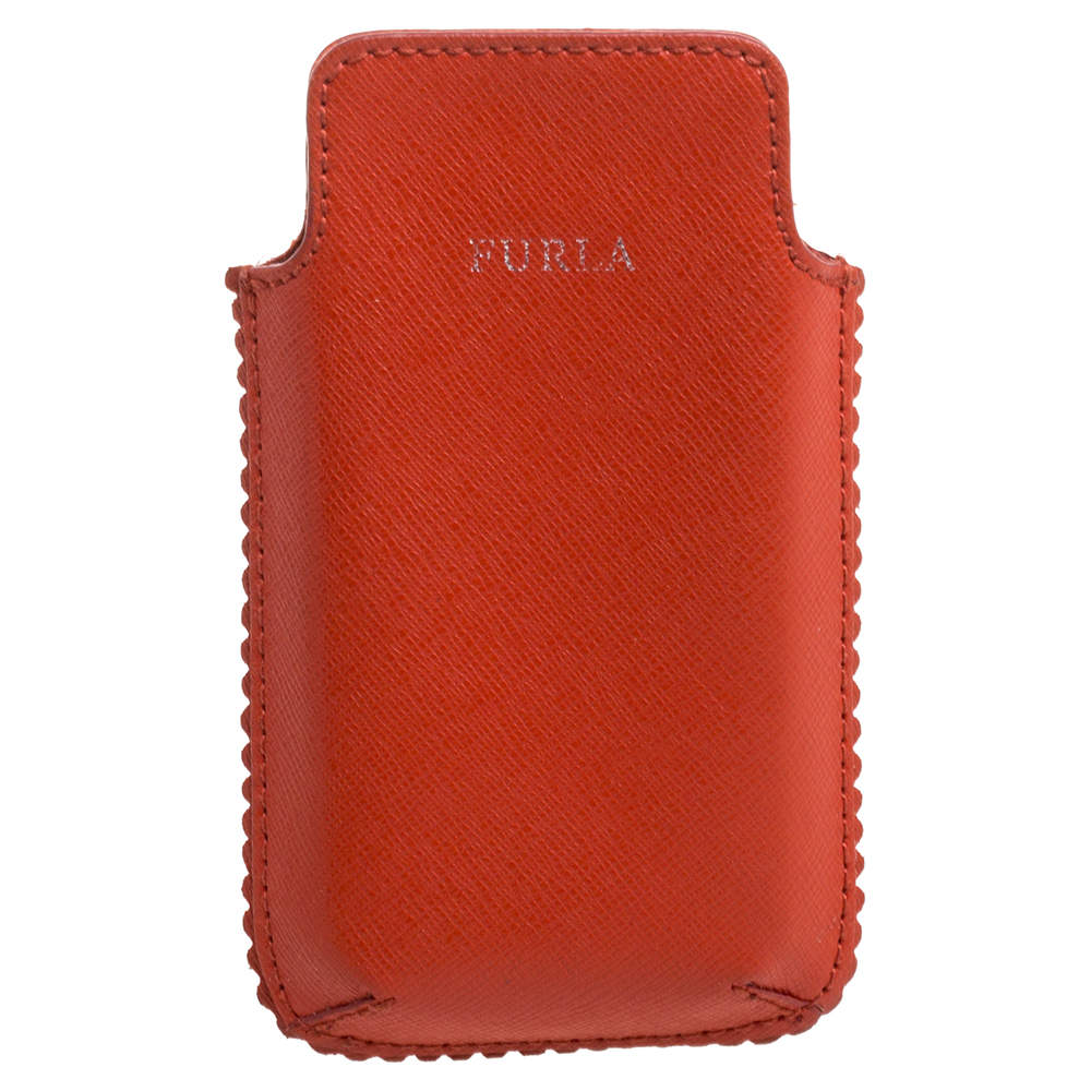 Furla Orange Leather Phone Case