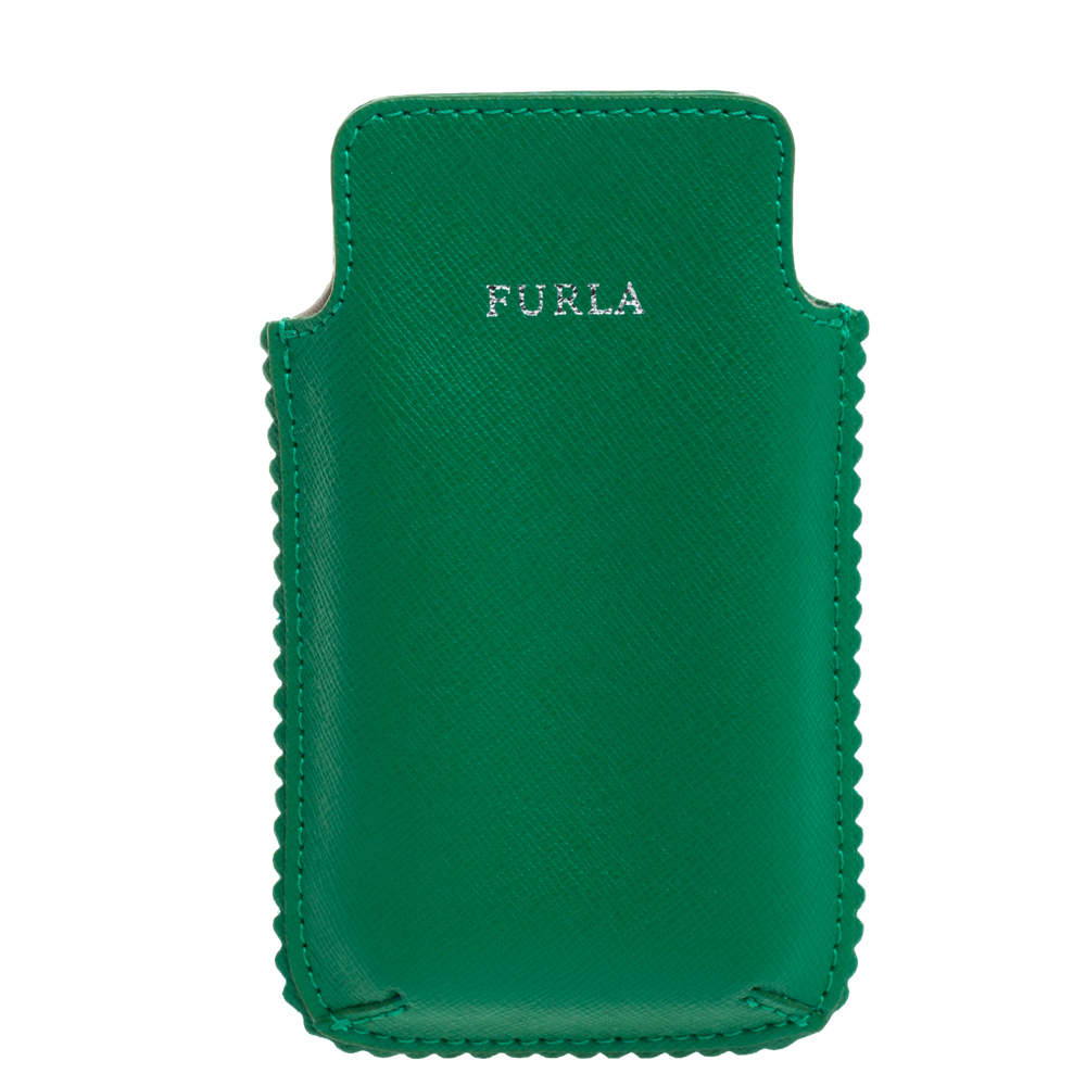 Furla Green Leather Phone Case