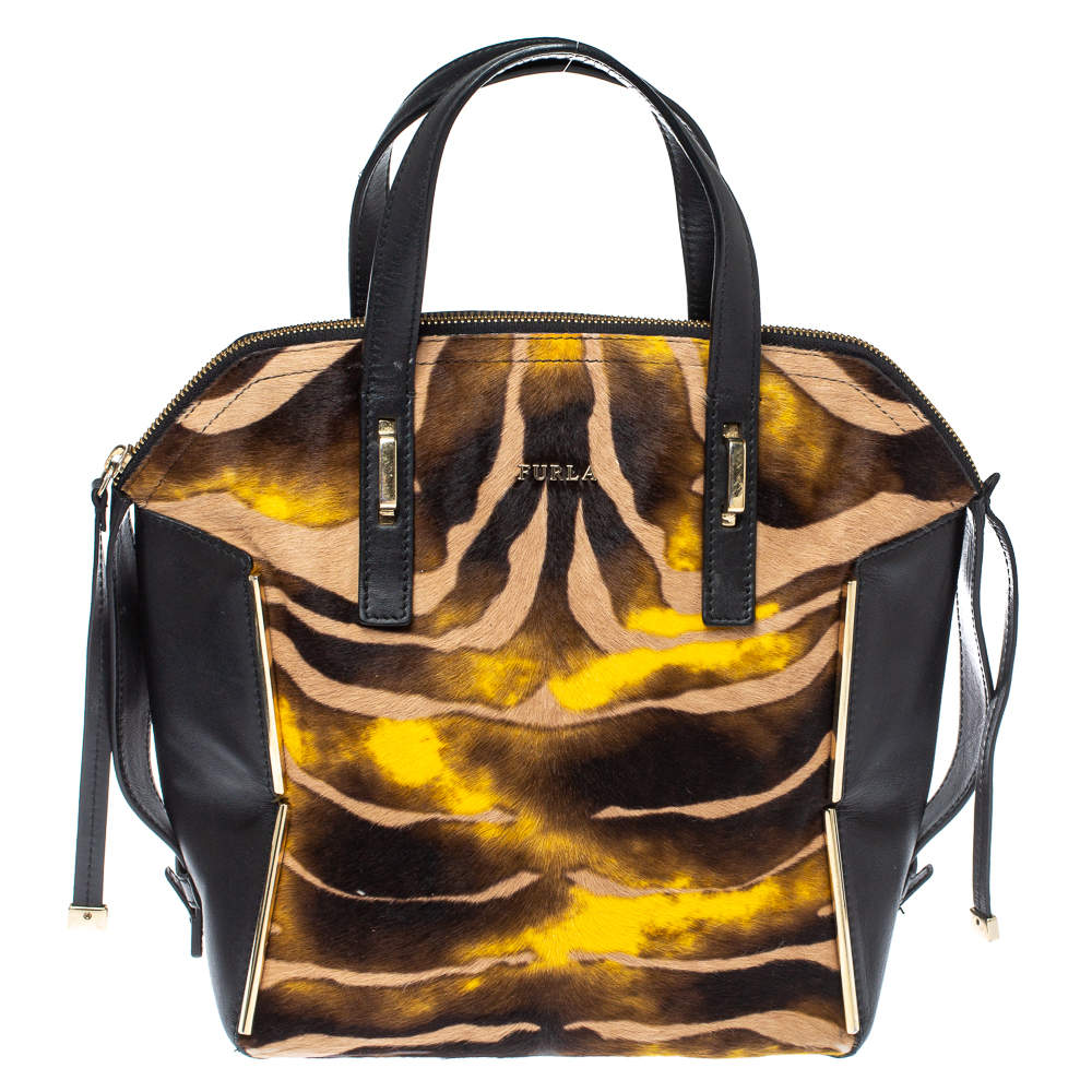 Furla Multicolor Leather and Calfhair Dome Satchel