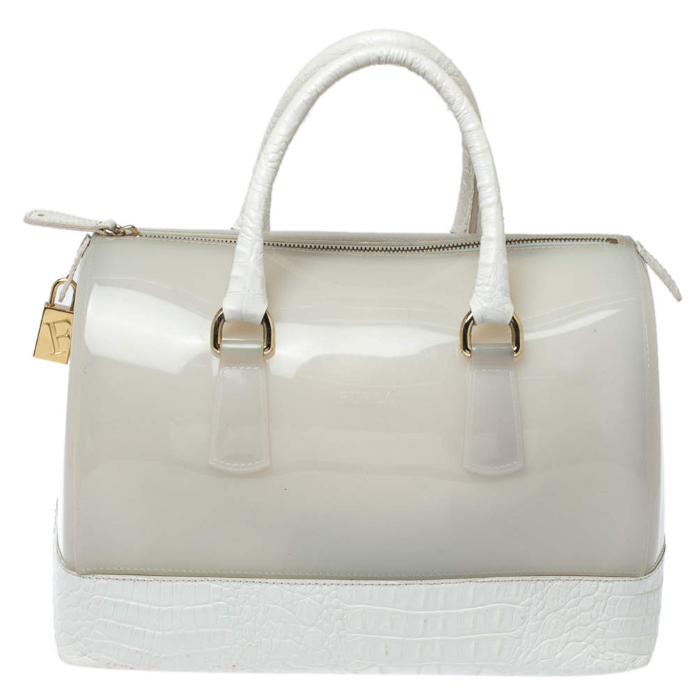 Furla White Rubber and Croc Embossed Leather Medium Candy Satchel