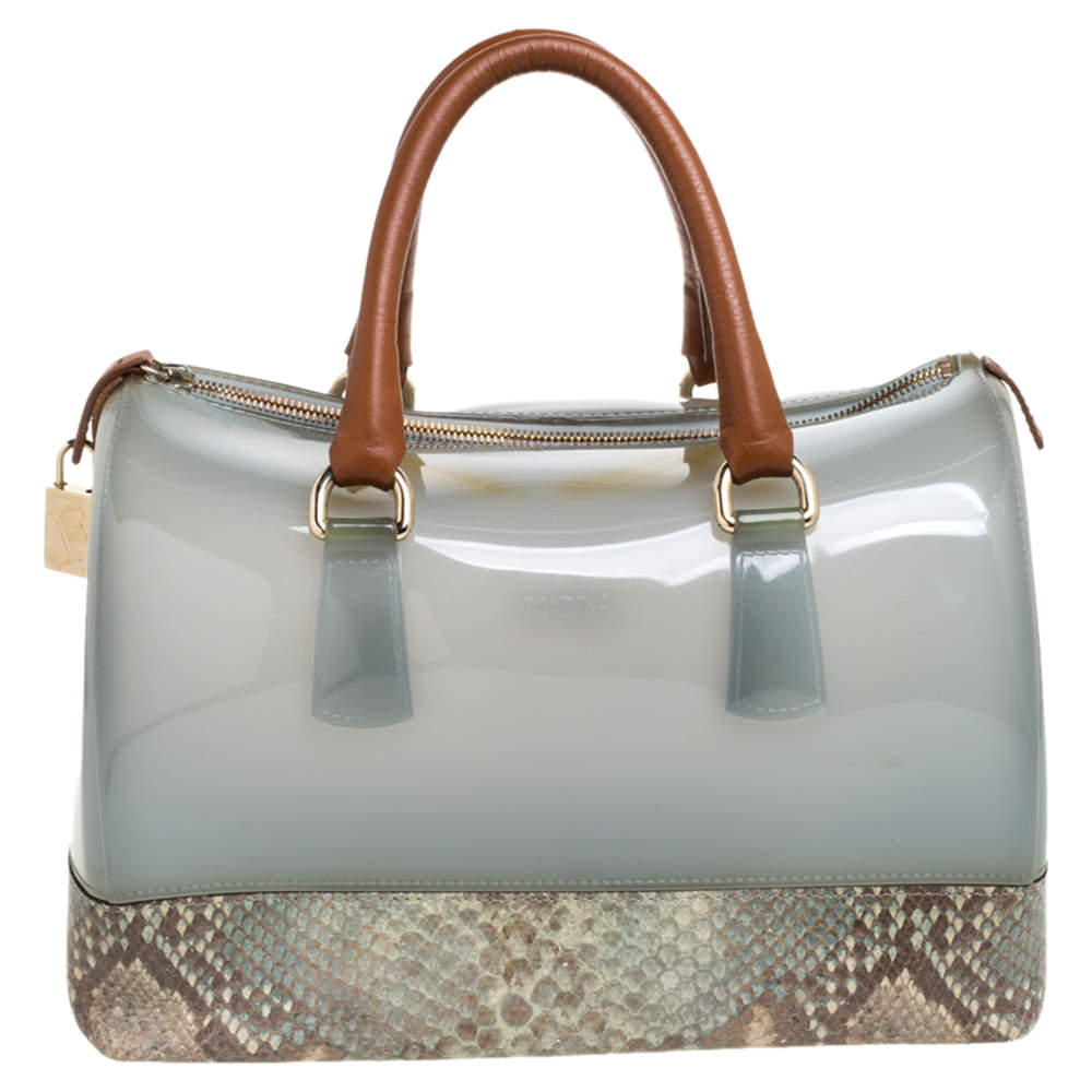 Furla Multicolor Rubber and Snakeskin Embossed Leather Medium Candy Satchel