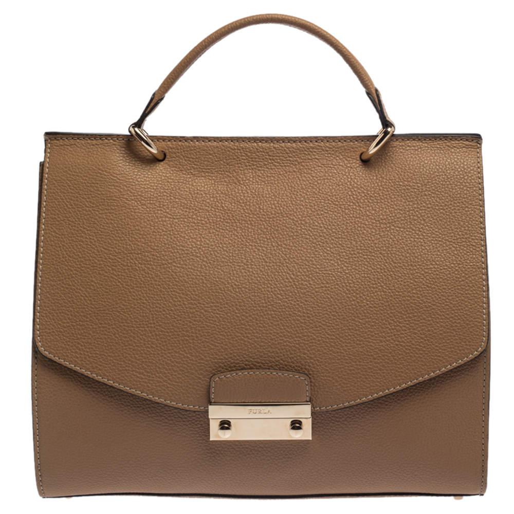 Furla Beige Leather Large Julia Top Handle Bag