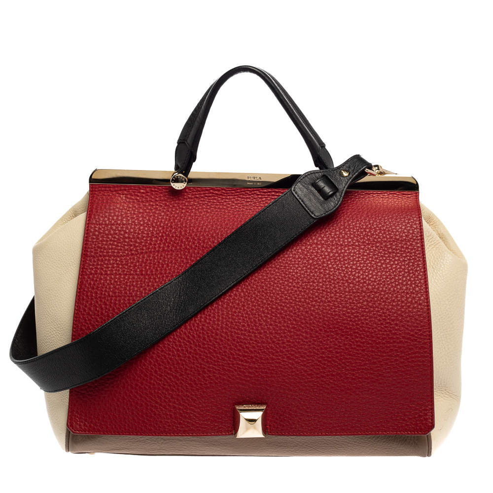 Furla Tri Color Leather Cortina Top Handle Bag