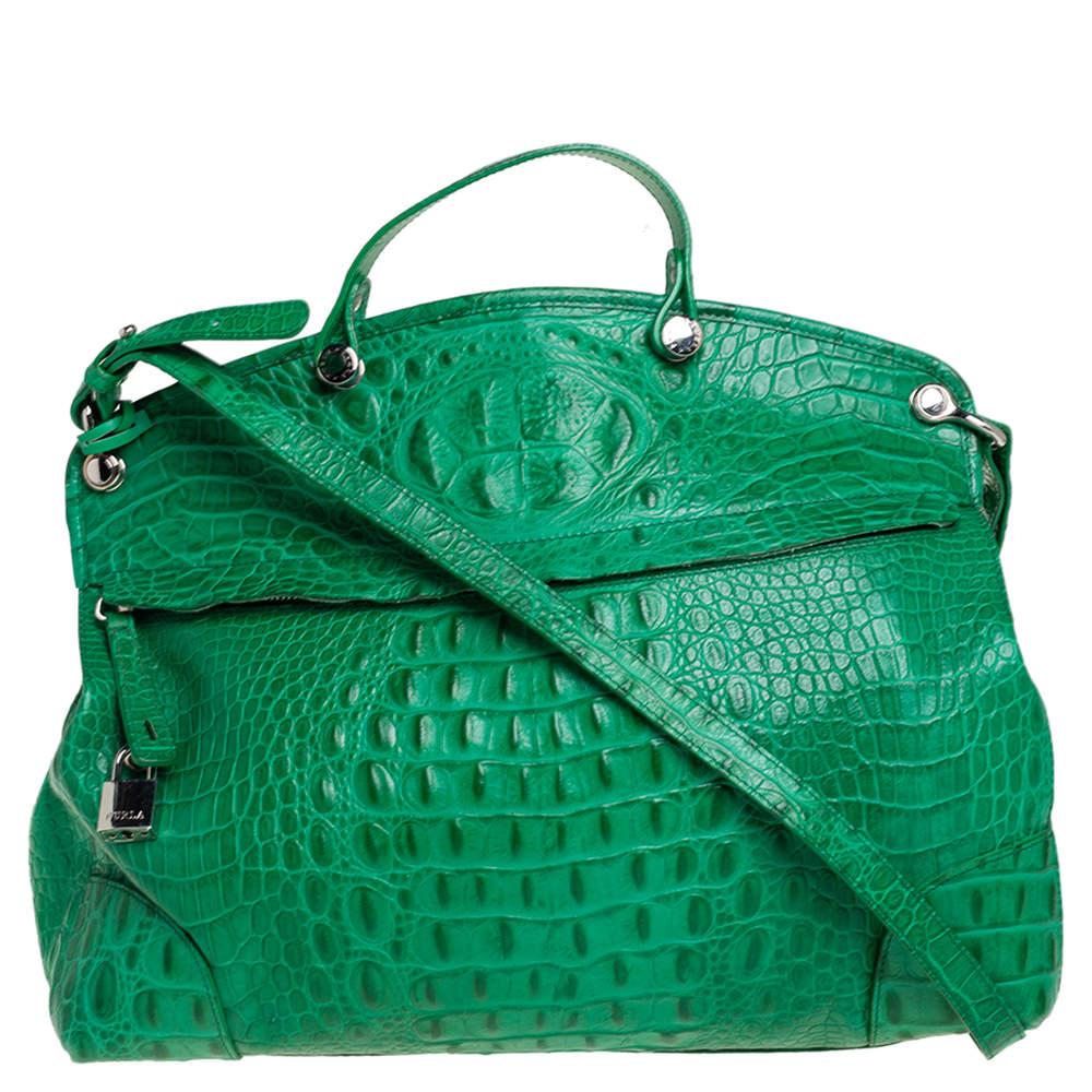 Furla Green Crococodile Embossed Leather Piper Dome Satchel
