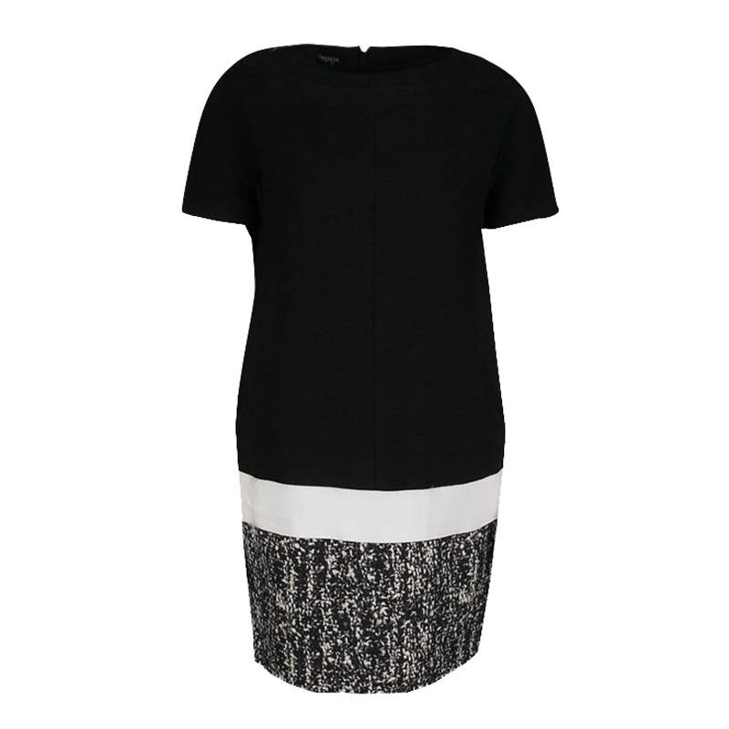 Giambattista Valli Monochrome Drop Waist Wool Shift Dress S