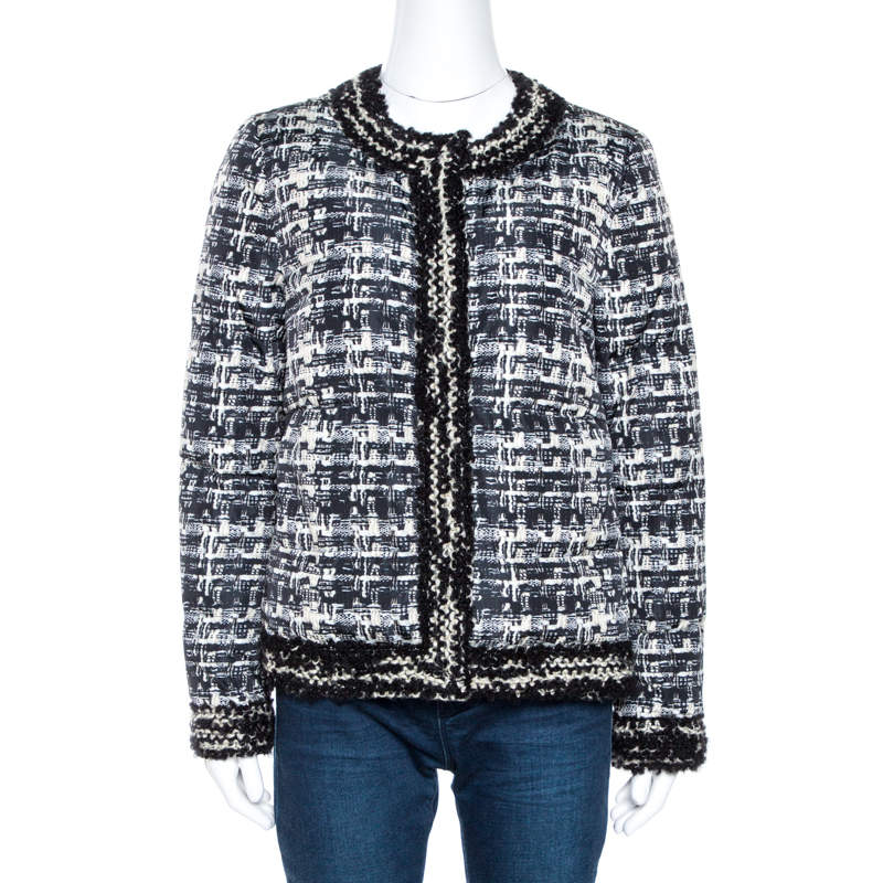 Giambattista Valli Monochrome Printed Button Front Jacket M