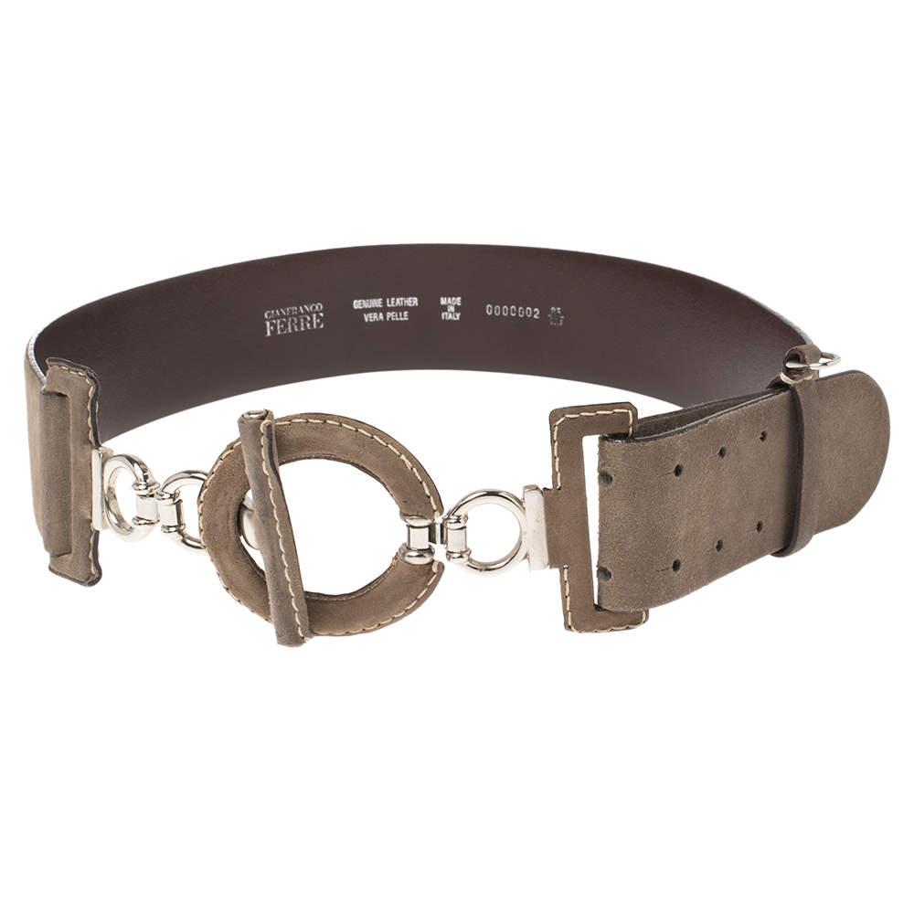 Gianfranco Ferre Brown Suede Wide Belt Size 85 CM