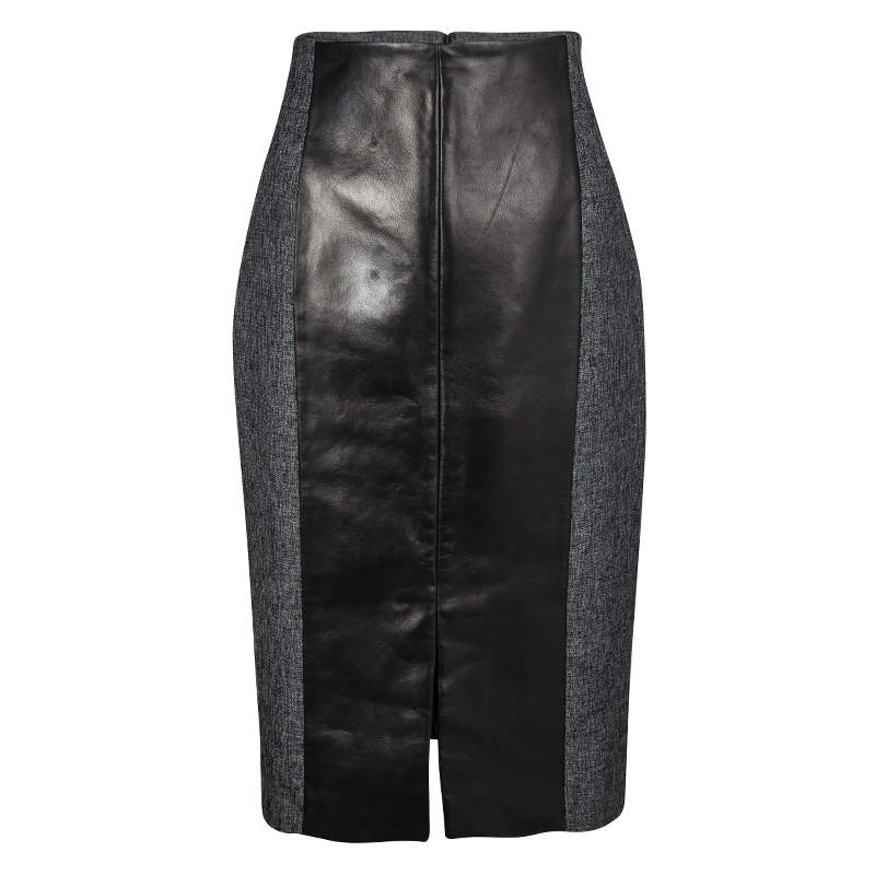 Gianfranco Ferre Grey Wool Contrast Leather Panel Detail Pencil Skirt M