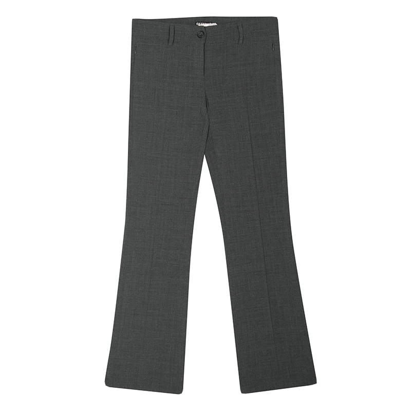 GF Ferre Grey Pintuck Stitch Detail Straight Fit Trousers S