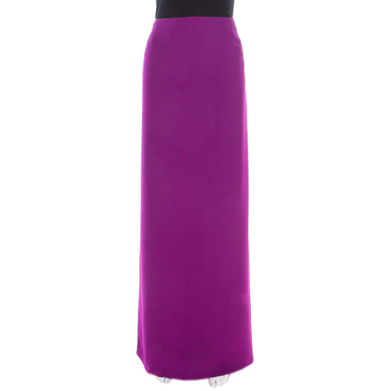 Gianfranco Ferre Purple Crepe Maxi Skirt L
