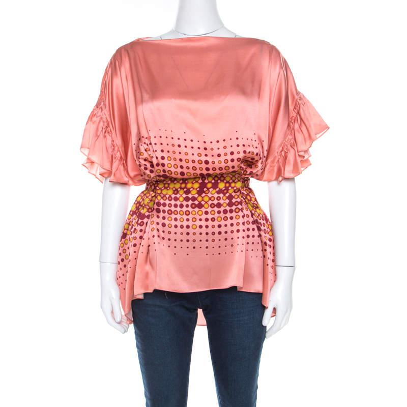 Gianfranco Ferre Peach Printed Silk Ruffle Sleeve Belted Blouse M