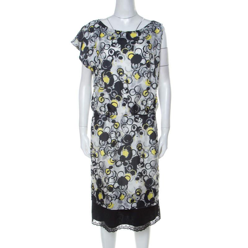 GF Ferre Multicolor circle Print Silk Lace Detail Asymmetric Shoulder Dress L