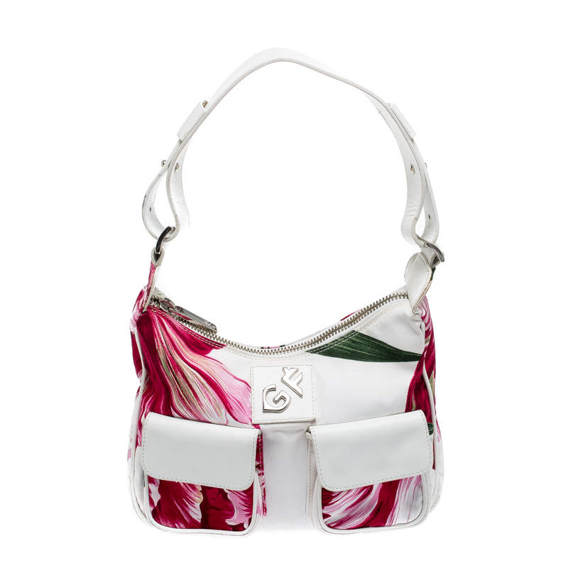 Gianfranco Ferre White/Pink Floral Print Canvas and Leather Pocket Shoulder Bag