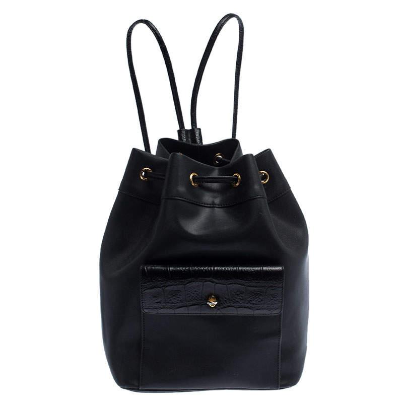 Gianfranco Ferre Black PVC and Crocodile Embossed Leather Pocket Drawstring Sling Bag