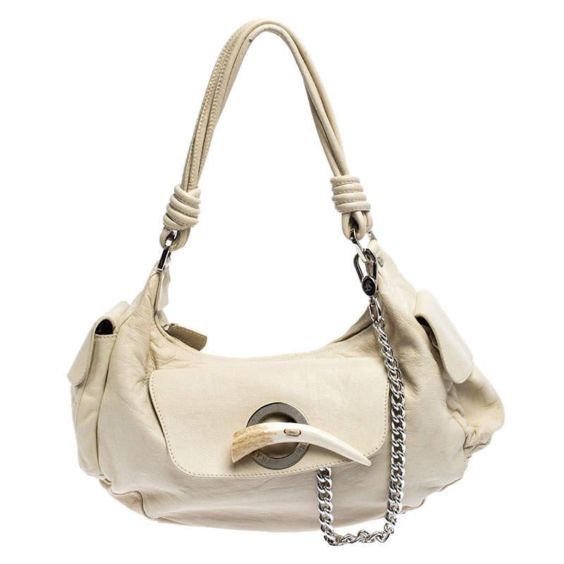 Gianfranco Ferre Cream Leather Side Pocket Shoulder Bag