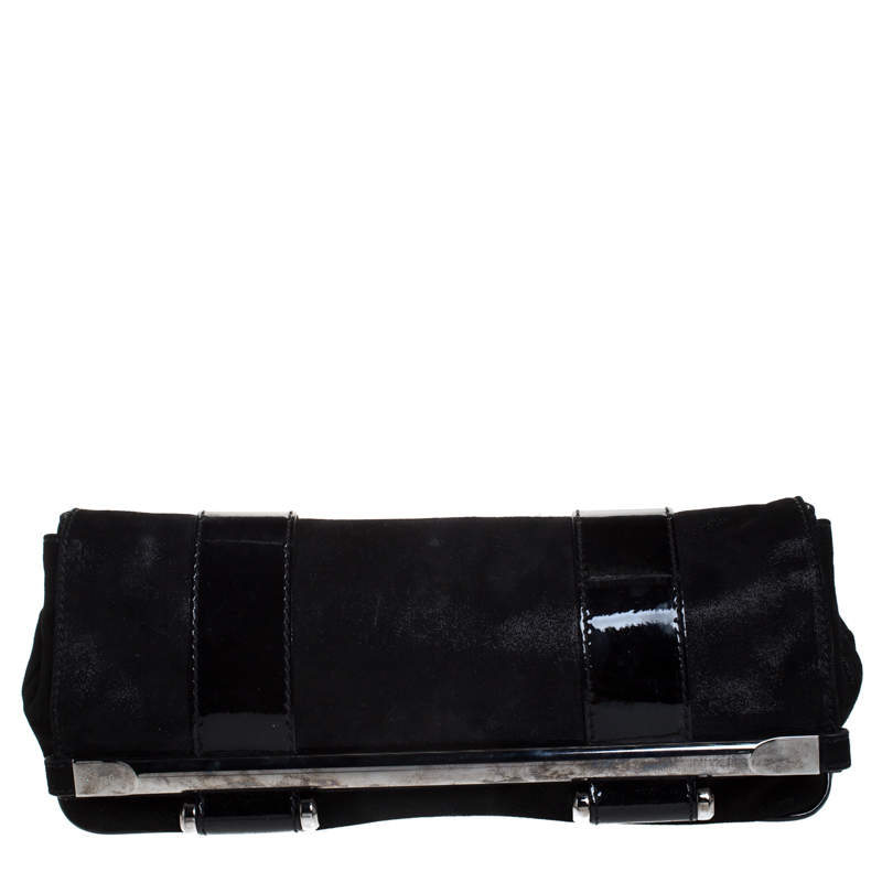Gianfranco Ferre Black Fabric and Patent Leather Flap Clutch