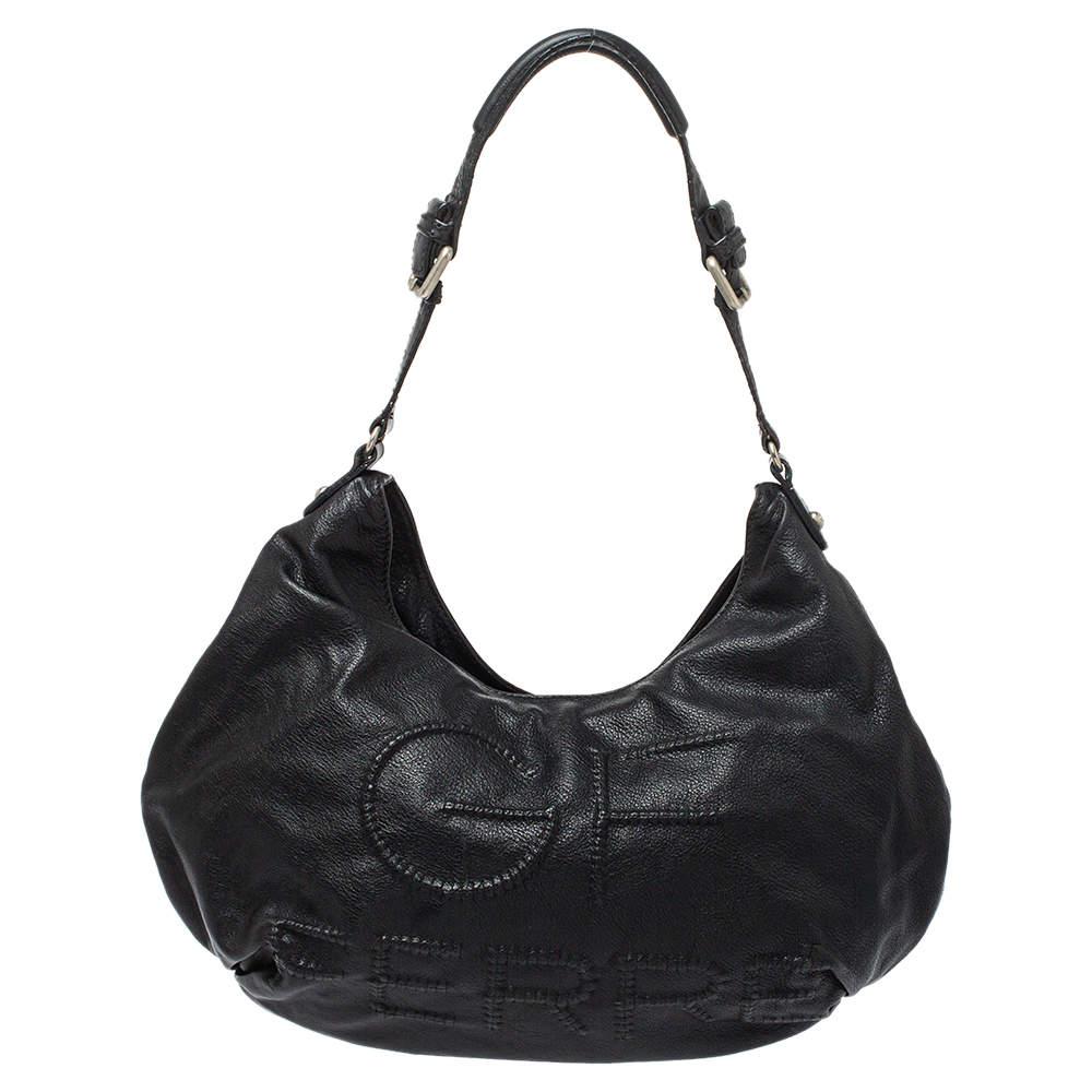 Gianfranco Ferre Black Leather Embossed Logo Hobo