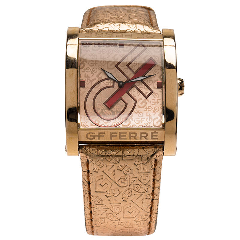 Gianfranco Ferre Pink Gold-Plated Stainless Steel 9046M Women's Wristwatch 36MM