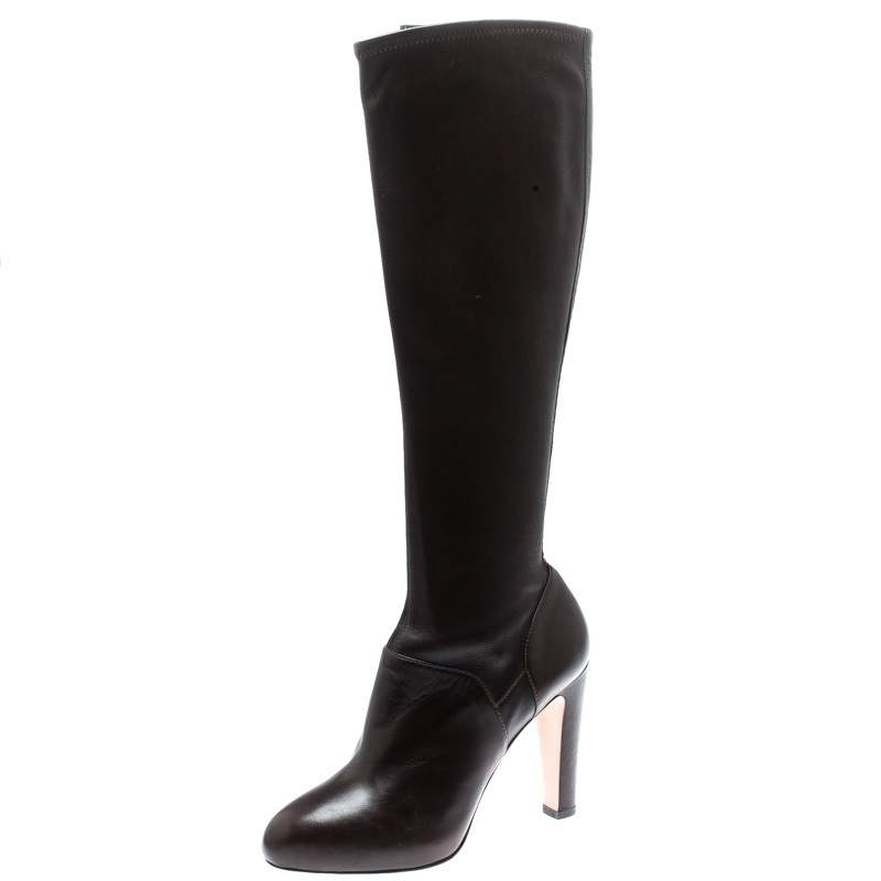 Gianvito Rossi Brown Leather Knee High Boots Size 37