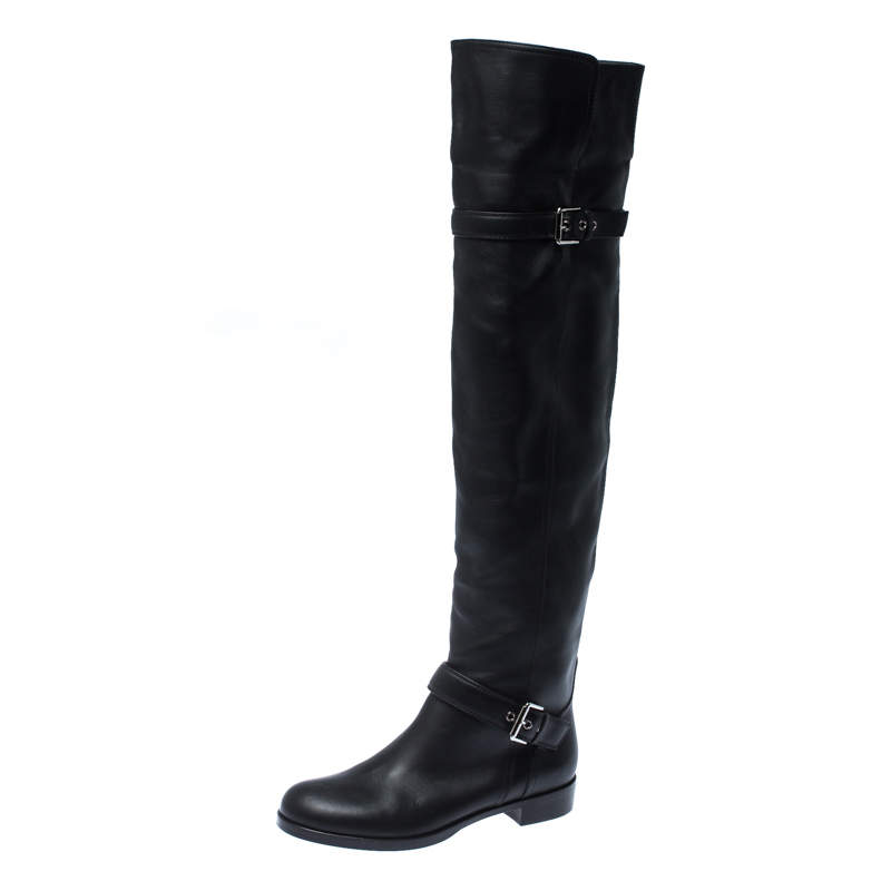 Gianvito Rossi Black Leather Buckle Detail Over The Knee Boots Size 37.5