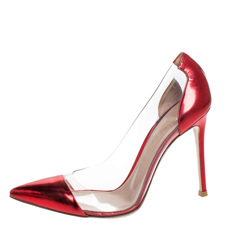 Gianvito Rossi Red Metallic Leather and PVC Plexi Pumps Size 37.5