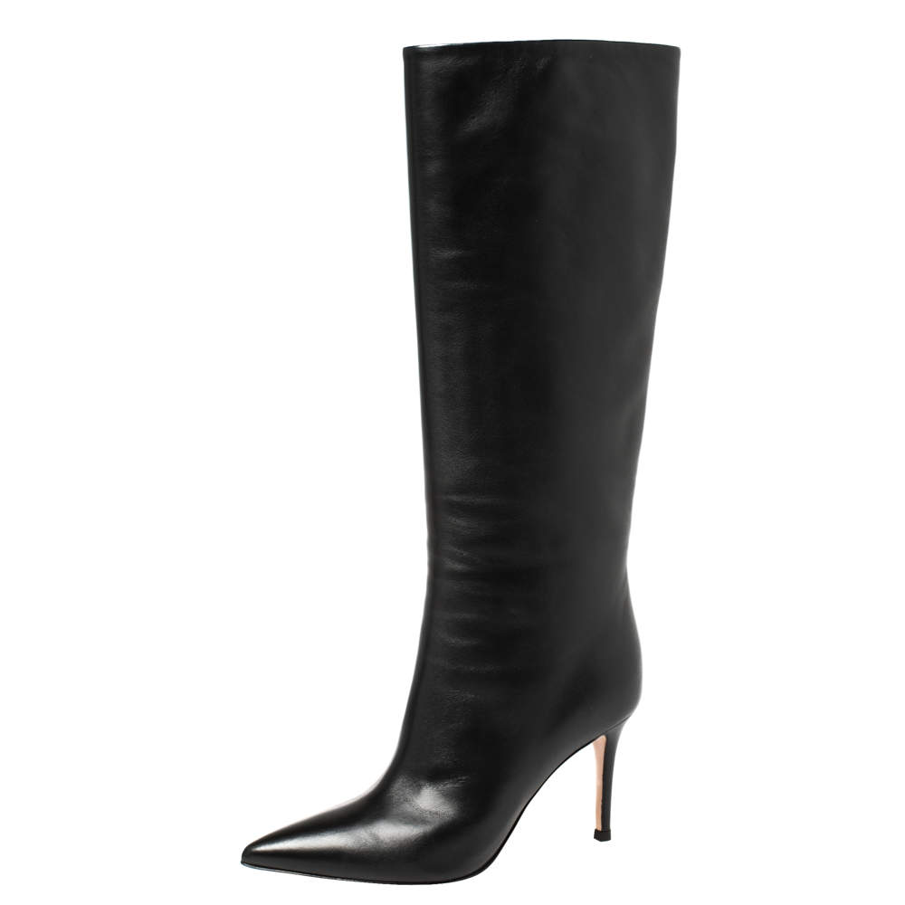 Gianvito Rossi Black Leather Boots Size 36.5