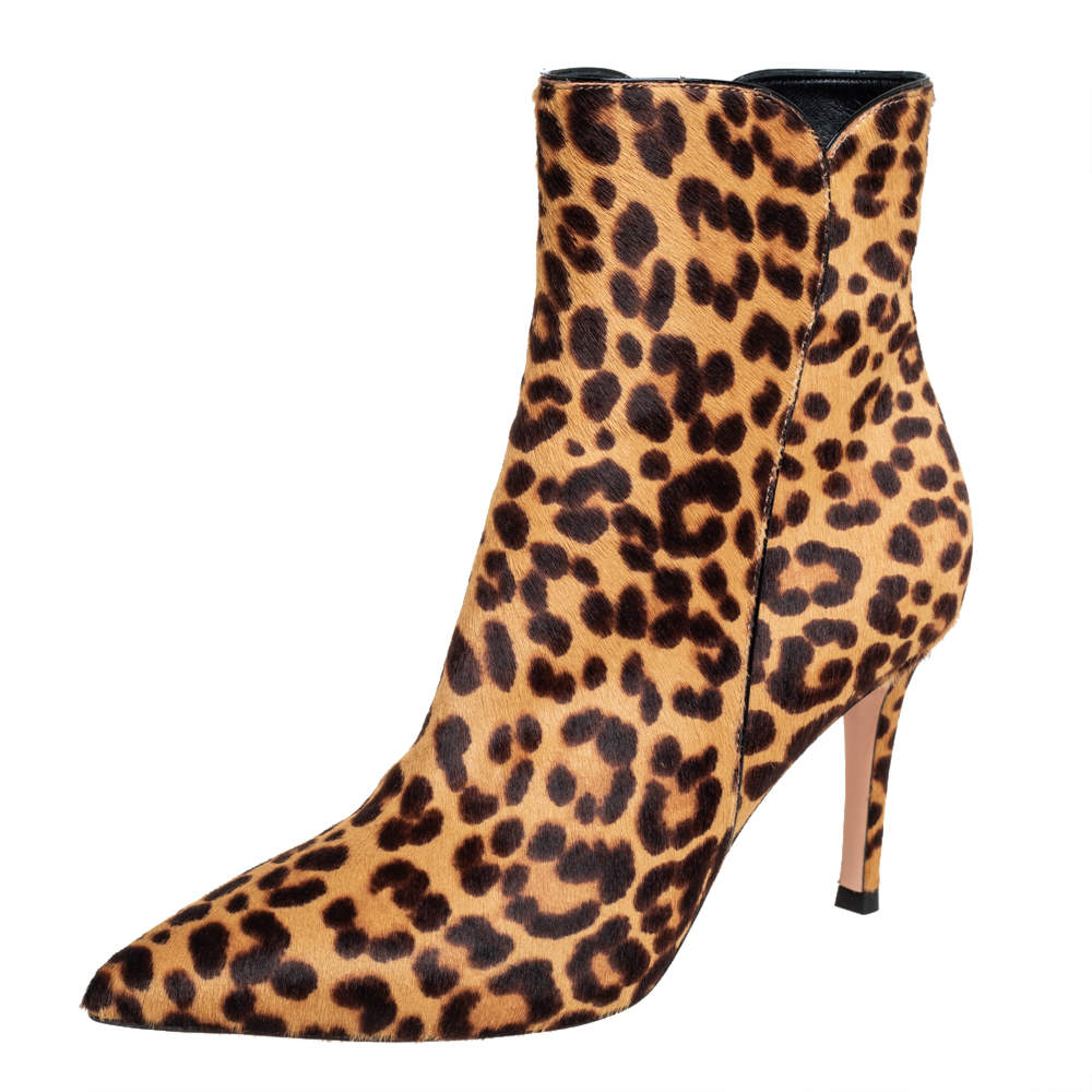 Gianvito Rossi Brown/Beige Leopard Print Calf Hair Ankle Boots Size 36.5