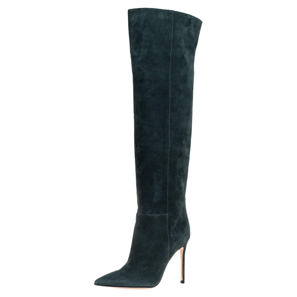 Gianvito Rossi Green Suede Over The Knee Boots Size 36