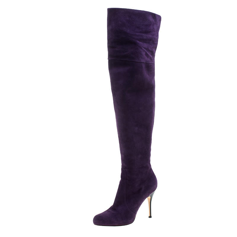 Gianvito Rossi Purple Suede Over the Knee Boots Size 40