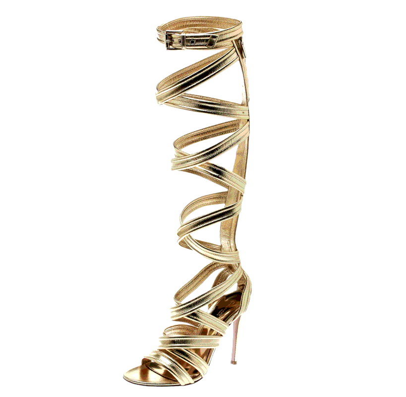 Gianvito Rossi Gold Leather Gladiator Knee High Sandals Size 38