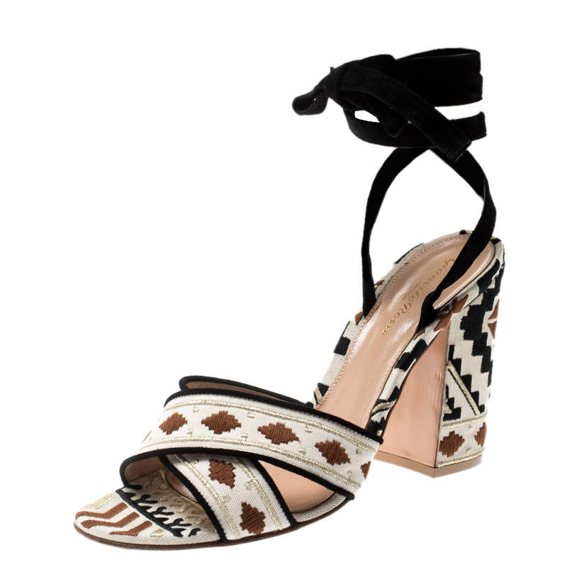 Gianvito Rossi Multicolor Embroidered Canvas And Suede Cheyenne Ankle Wrap Sandals 39.5