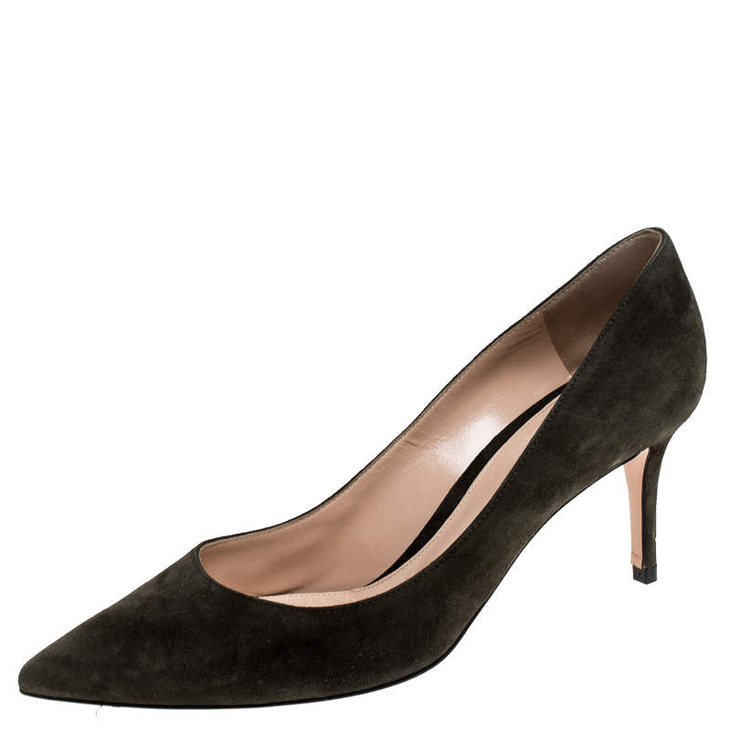 Gianvito Rossi Grey Suede Pointed Toe Pumps Size 41